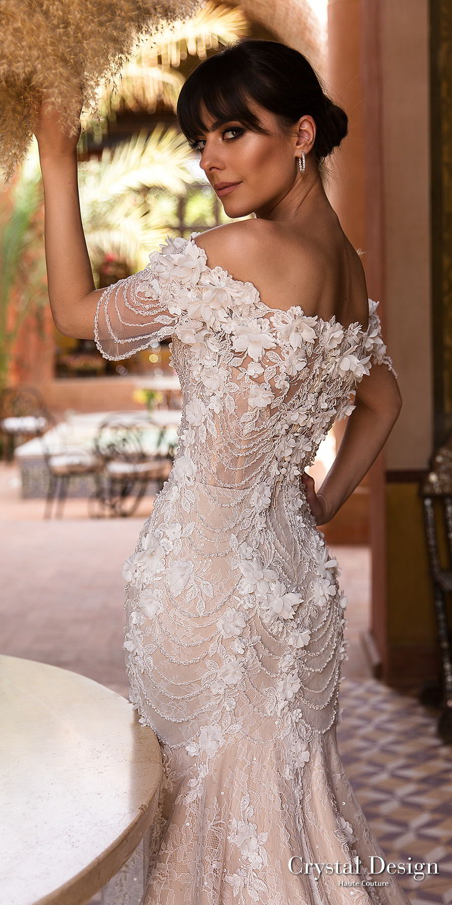 crystal design 2018 off the shoulder straight across neck full embellishment romantic fit and flare wedding dress chapel train (grace) zbv
