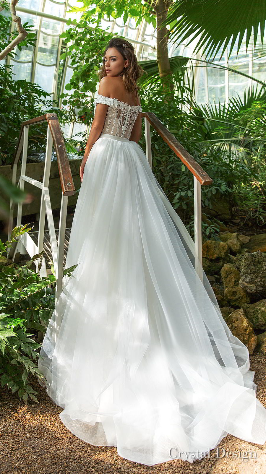crystal design 2018 off the shoulder sweetheart neckline full embellishment elegant romantic fit and flare wedding dress a  line overskirt chapel train (claudia) bv