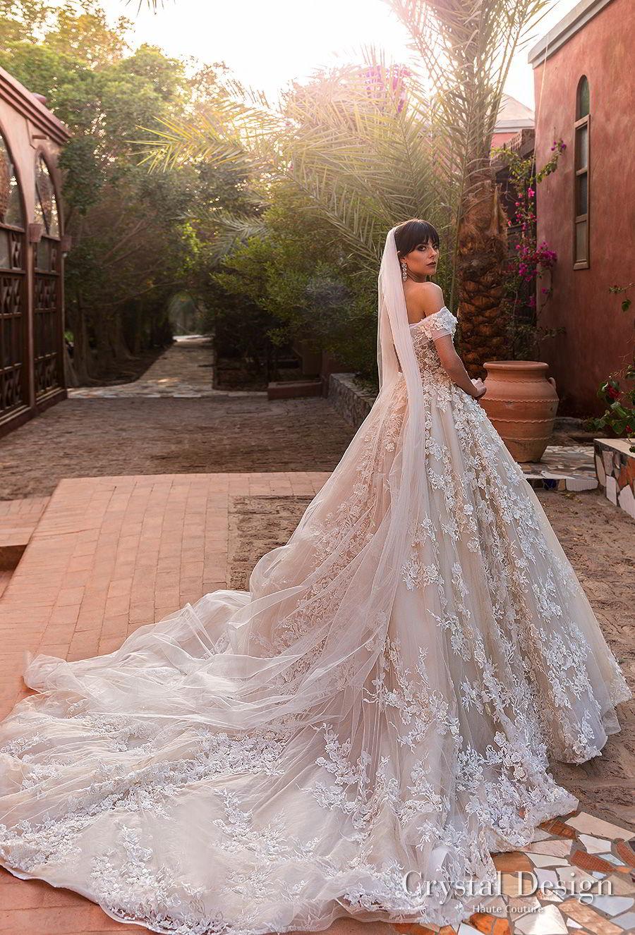 crystal design 2018 off the shoulder sweetheart neckline full embellishment princess ball gown wedding dress royal train (magenta) bv