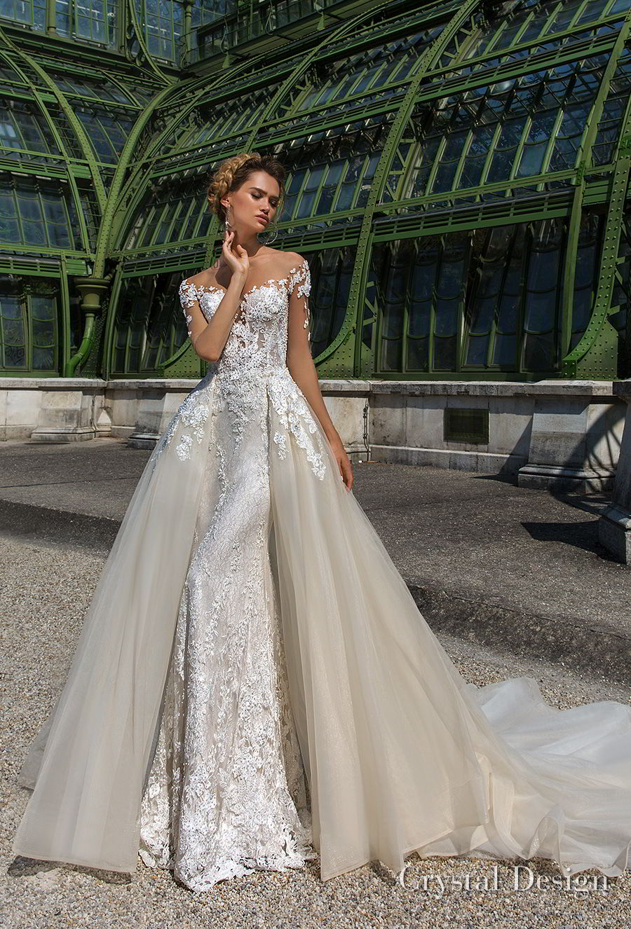 crystal design 2018 sheer long sleeves off the shoulder sweetheart neckline full embellishment romantic fit and flare wedding dress a  line overskirt sheer button back chapel train (rosie) mv