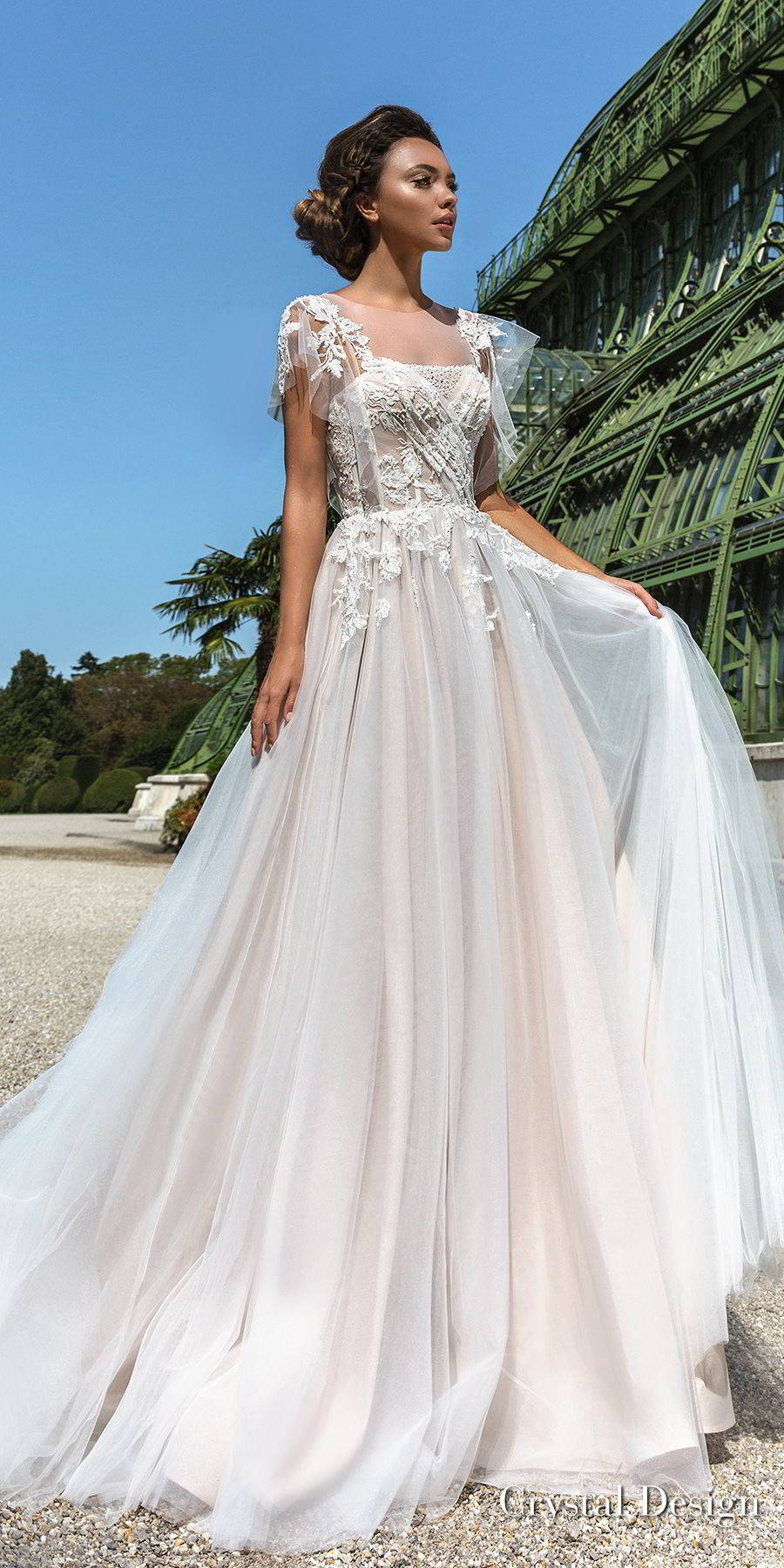 crystal design 2018 short handkerchief sleeves sheer jewel straight across neck heavily embellished bodice romantic soft a  line wedding dress chapel train (brea) mv