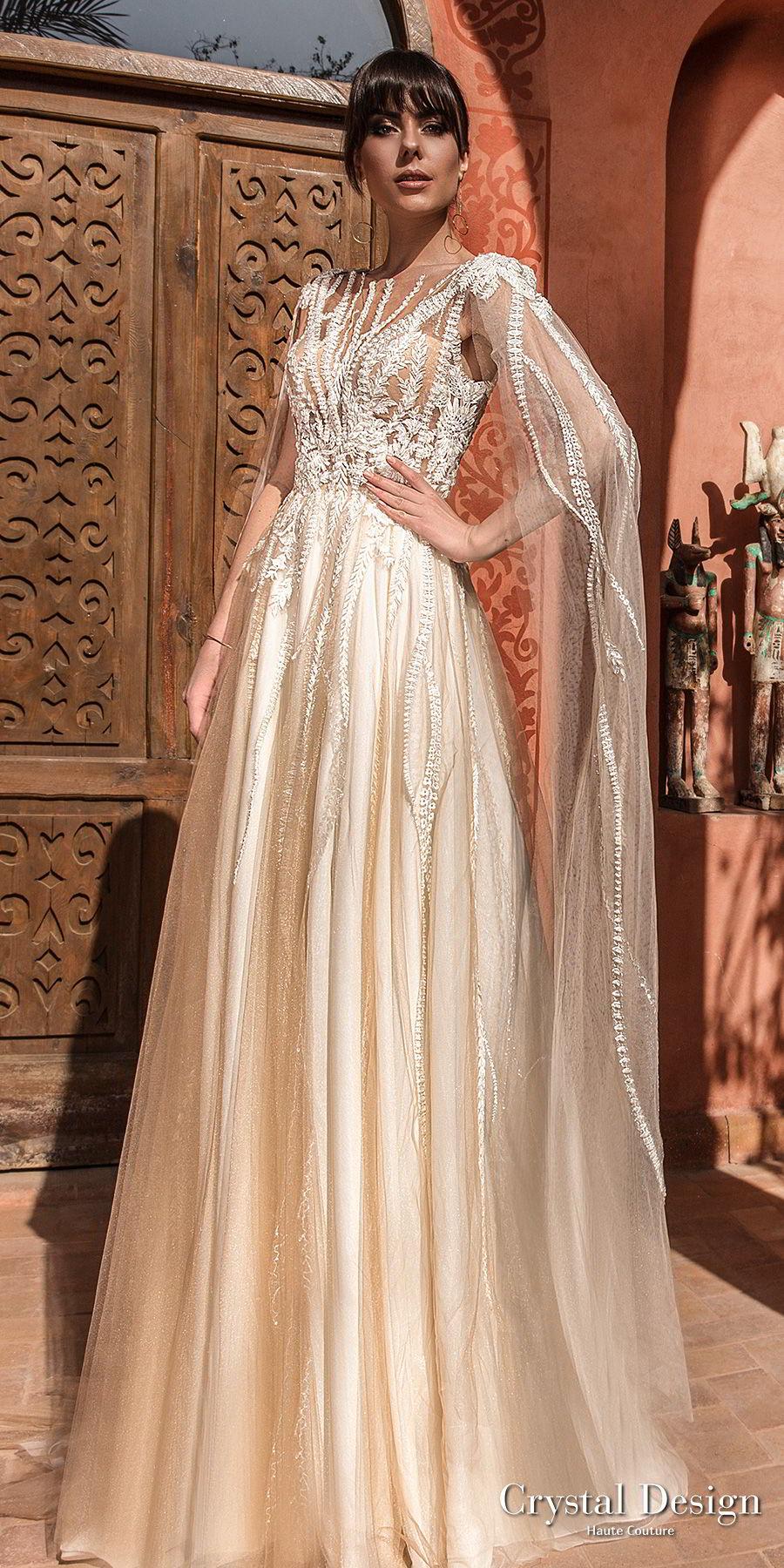 crystal design 2018 sleeveless bateau neck heavily embellished bodice romantic a line wedding dress cape open scoop back chapel train (elizion) mv