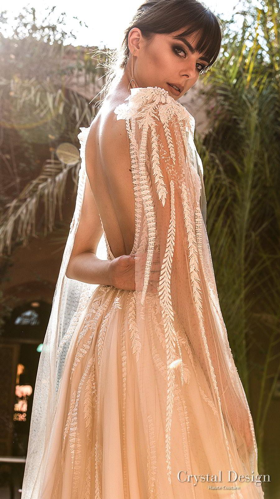 crystal design 2018 sleeveless bateau neck heavily embellished bodice romantic a line wedding dress cape open scoop back chapel train (elizion) zbv