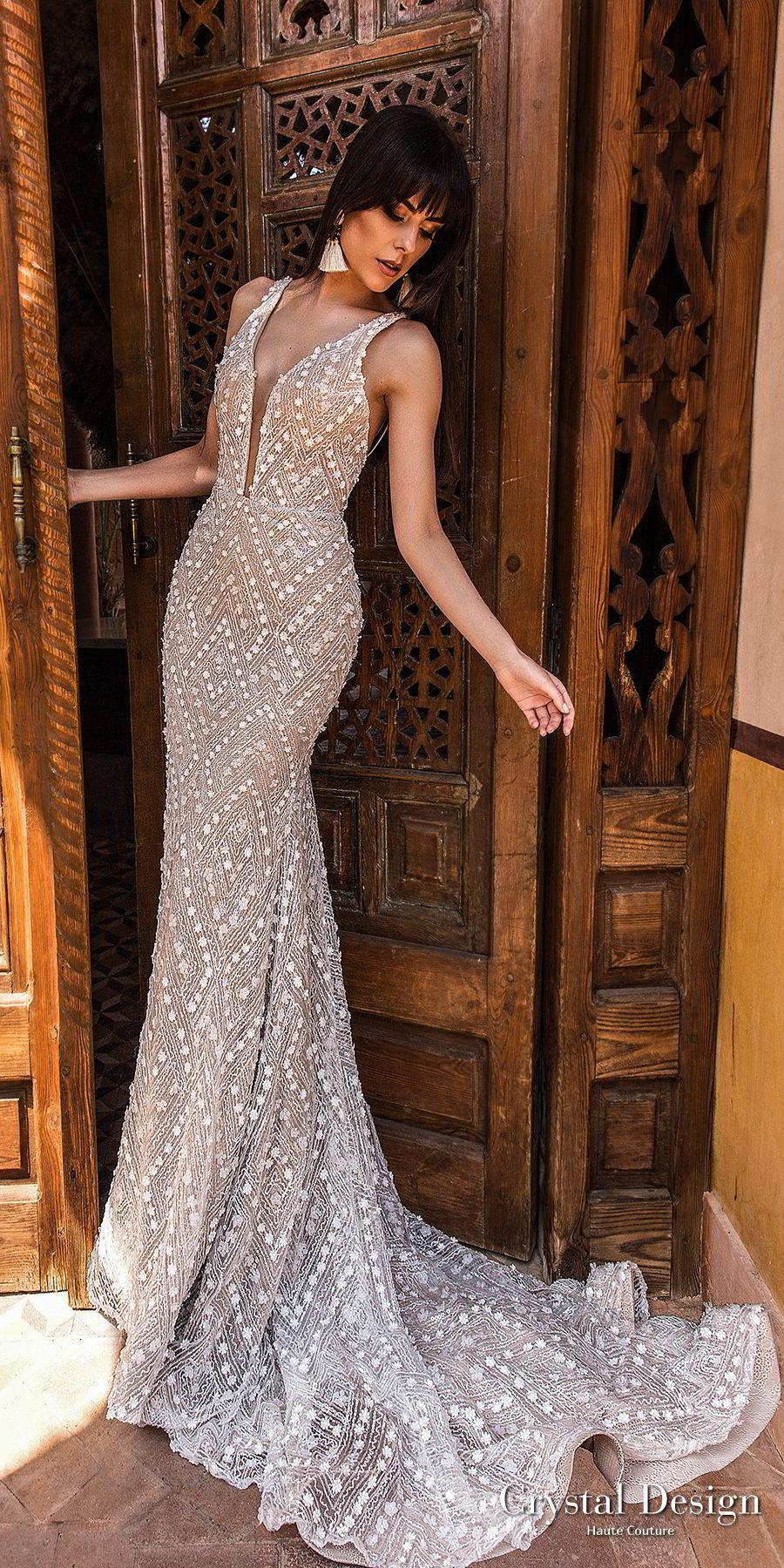 crystal design 2018 sleeveless deep plunging v neck full embellishment elegant sheath wedding dress open back chapel train (infinity) mv