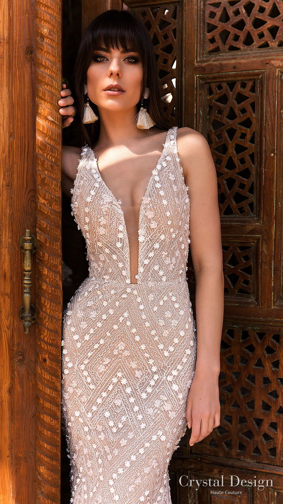 crystal design 2018 sleeveless deep plunging v neck full embellishment elegant sheath wedding dress open back chapel train (infinity) zv