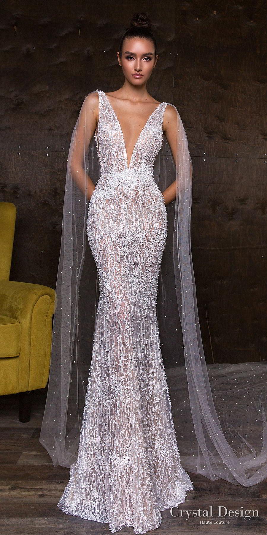 crystal design 2018 sleeveless deep v neck full embellishment elegant glamorous sheath wedding dress sheer v back watteau train (leni) mv