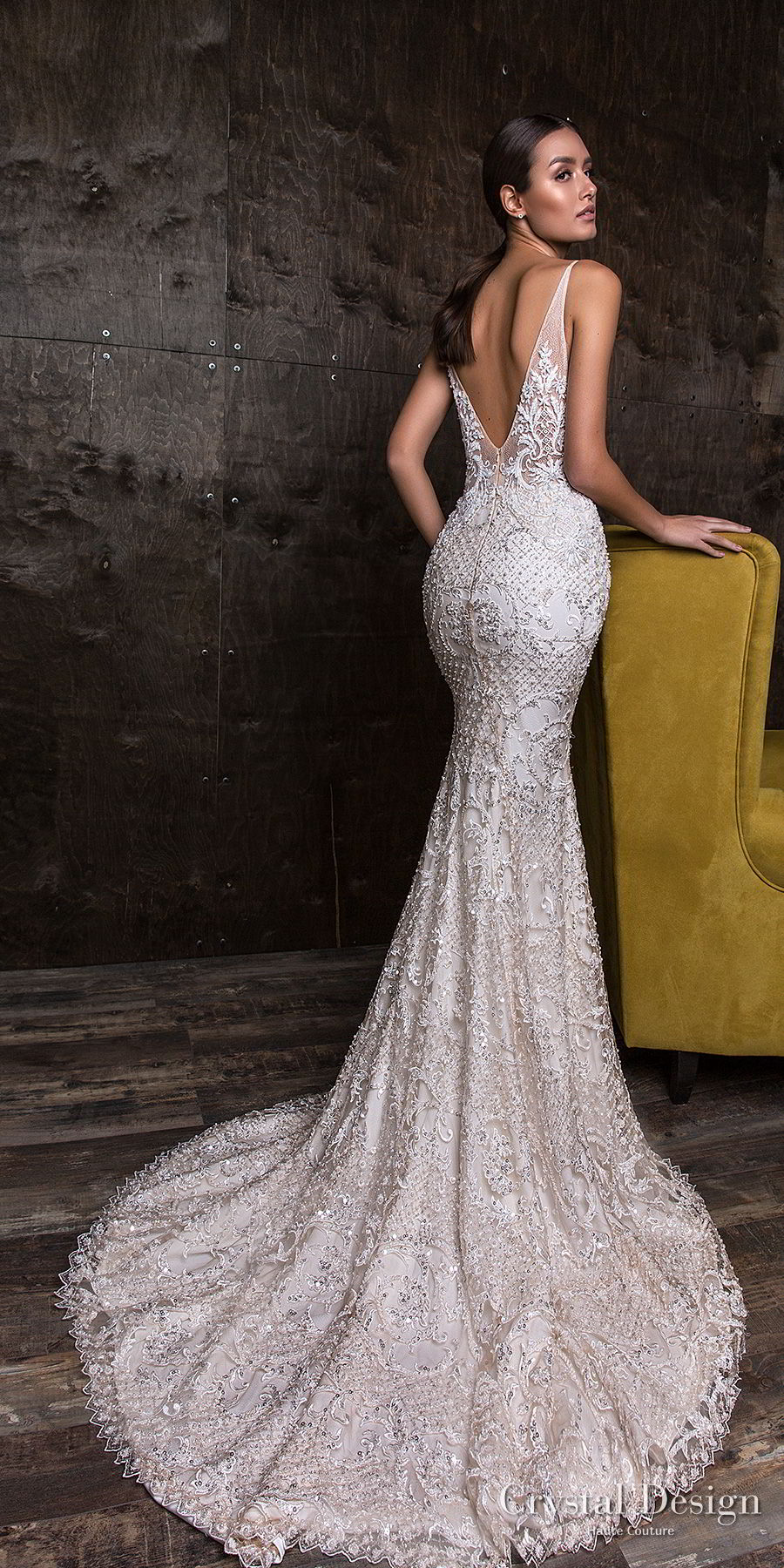 crystal design 2018 sleeveless deep v neck full embellishment elegant sheath fit and flare wedding dress open v back medium train (esben) bv