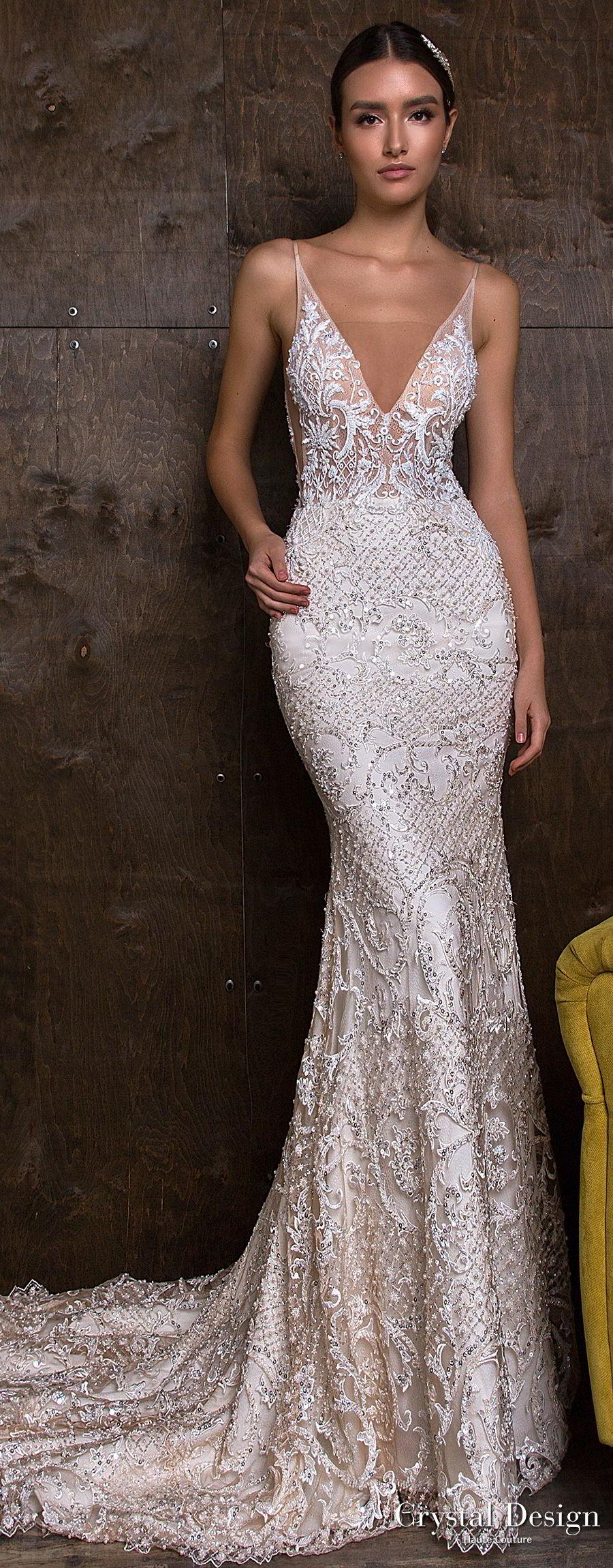 crystal design 2018 sleeveless deep v neck full embellishment elegant sheath fit and flare wedding dress open v back medium train (esben) mv