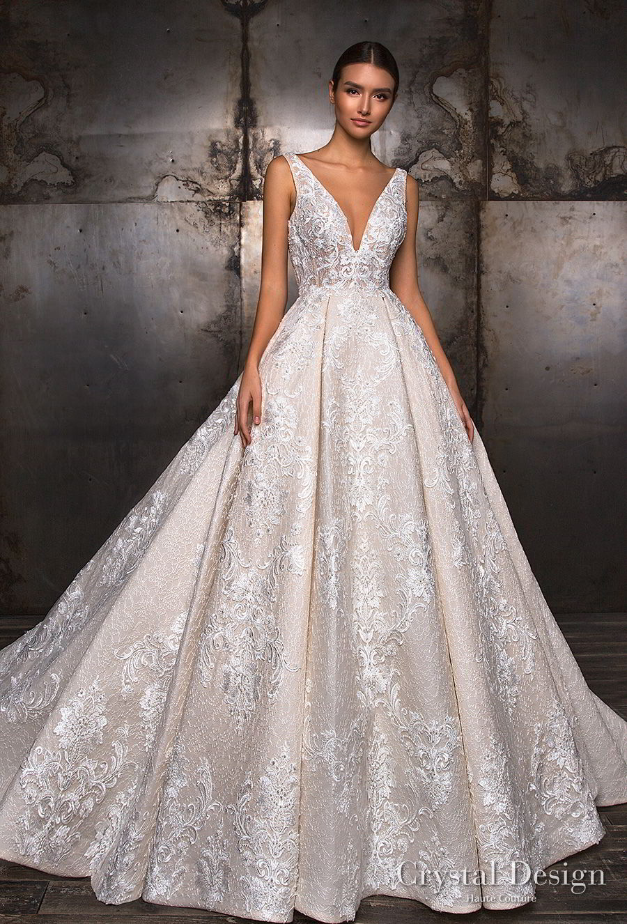 crystal design 2018 sleeveless deep v neck full embellishment princess ball gown a  line wedding dress v back royal train (taffi) mv