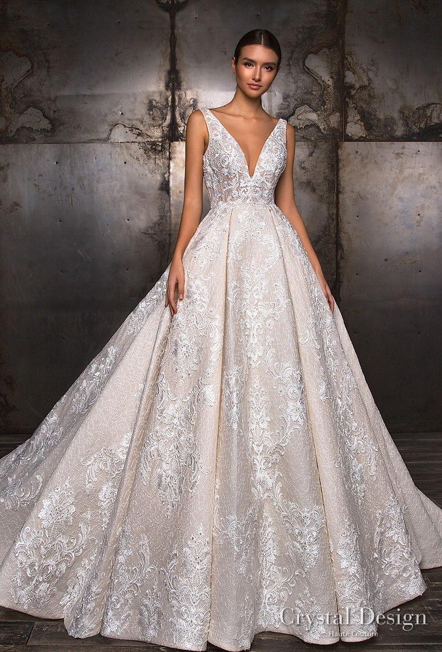 crystal design 2018 sleeveless deep v neck full embellishment princess ball gown a line wedding dress v back royal train (taffi) mv