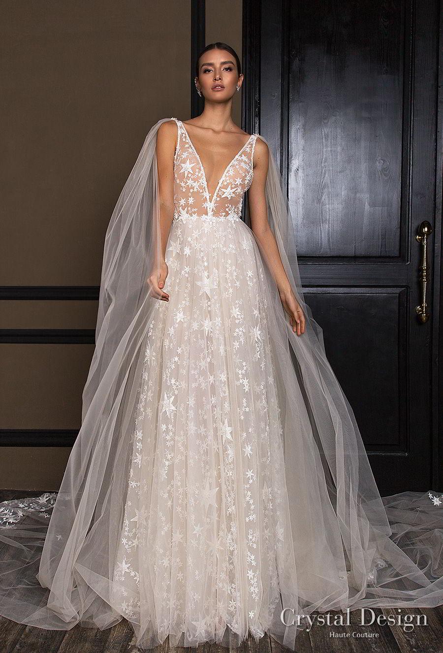 crystal design 2018 sleeveless deep v neck full embellishment romantic a line wedding dress open v back chapel train (star) mv