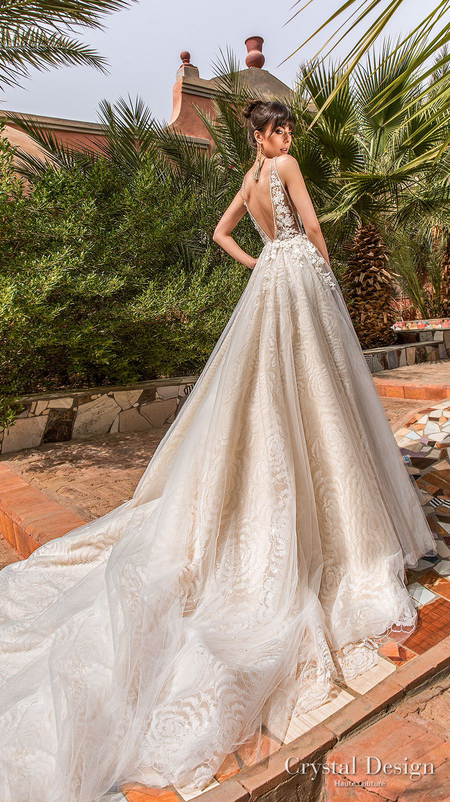 crystal design 2018 sleeveless deep v neck heavily embellished bodice side open romantic a  line wedding dress open back royal train (rainbow) bv