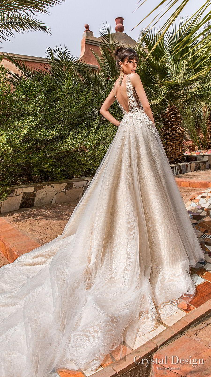 crystal design 2018 sleeveless deep v neck heavily embellished bodice side open romantic a line wedding dress open back royal train (rainbow) bv