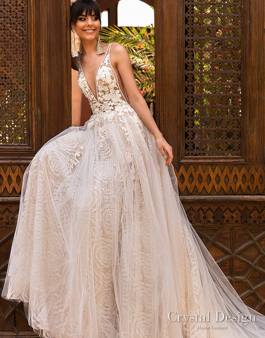 crystal design 2018 sleeveless deep v neck heavily embellished bodice side open romantic a  line wedding dress open back royal train (rainbow) mv