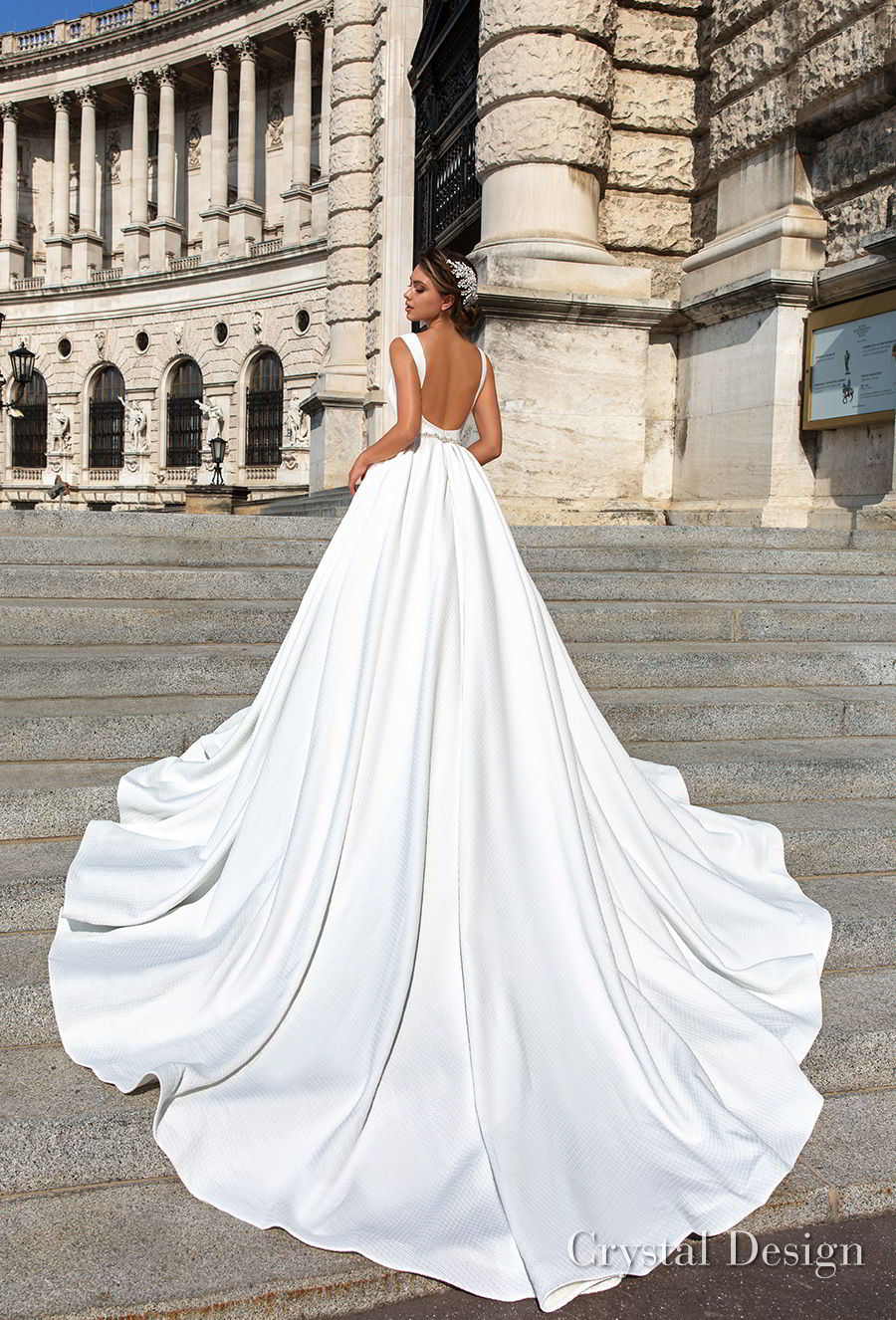 crystal design 2018 sleeveless deep v neck simple princess elegant ball gown a  line wedding dress open scoop back royal train (ivanna) bv