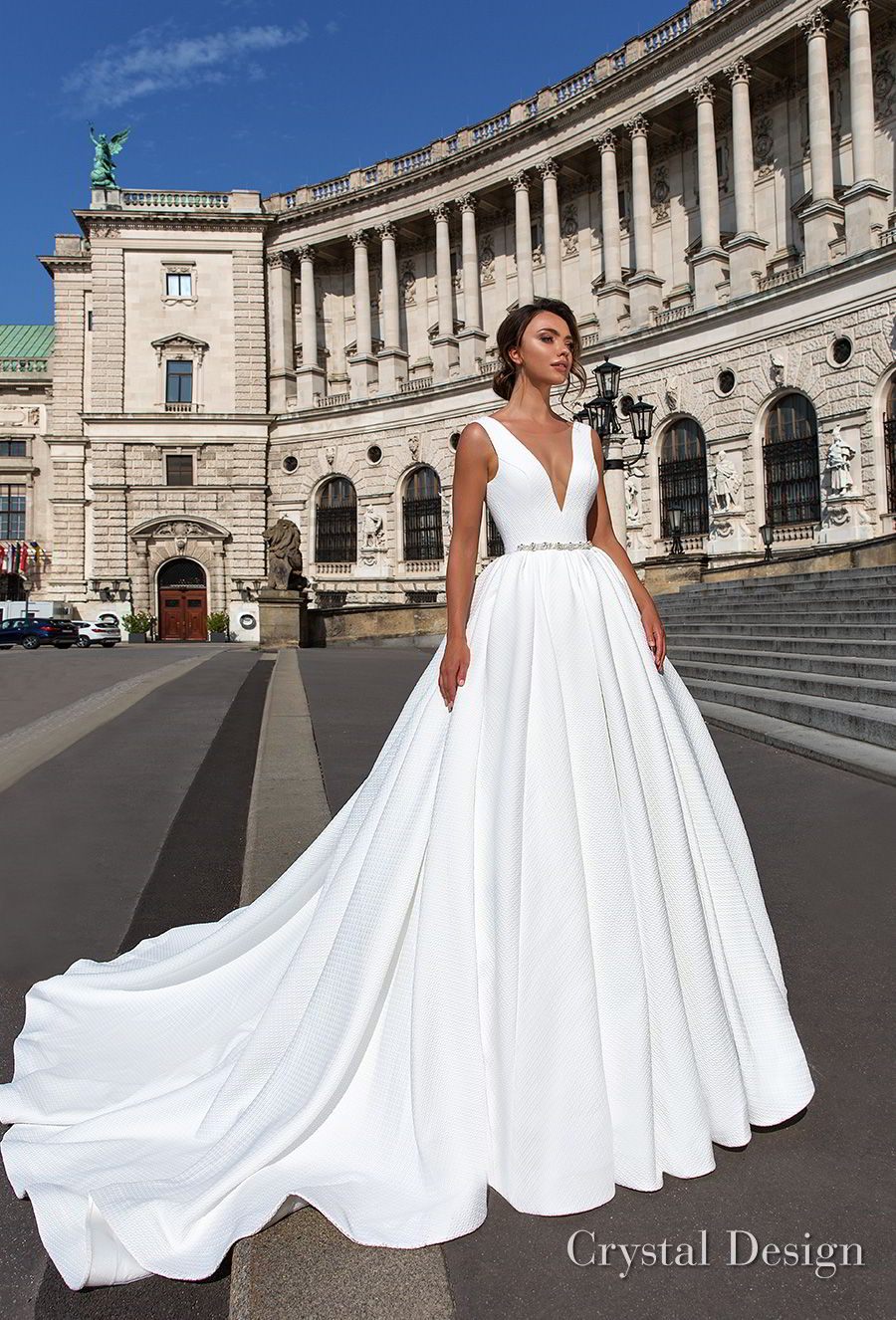 Crystal design 2018 wedding dresses royal garden haute couture crystal design 2018 sleeveless deep v neck simple princess elegant ball gown a line wedding dress junglespirit Choice Image