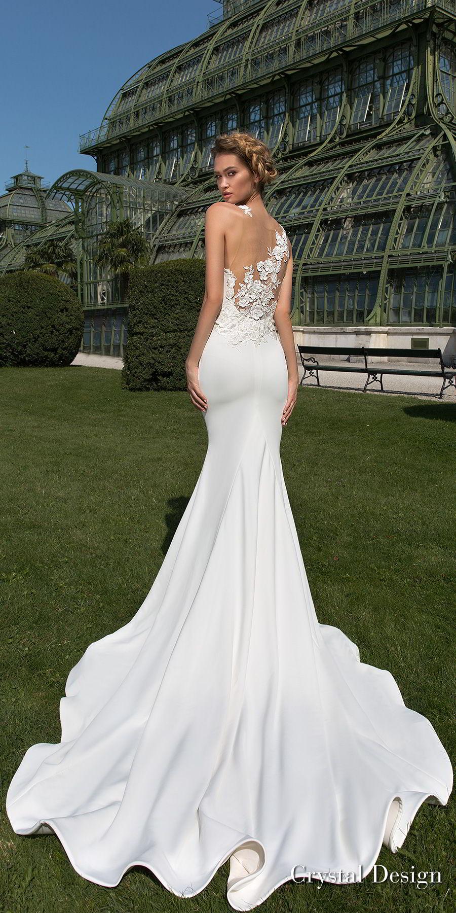 crystal design 2018 sleeveless halter neck simple clean elegant fit and flare wedding dress sheer lace back chapel train (keren) bv