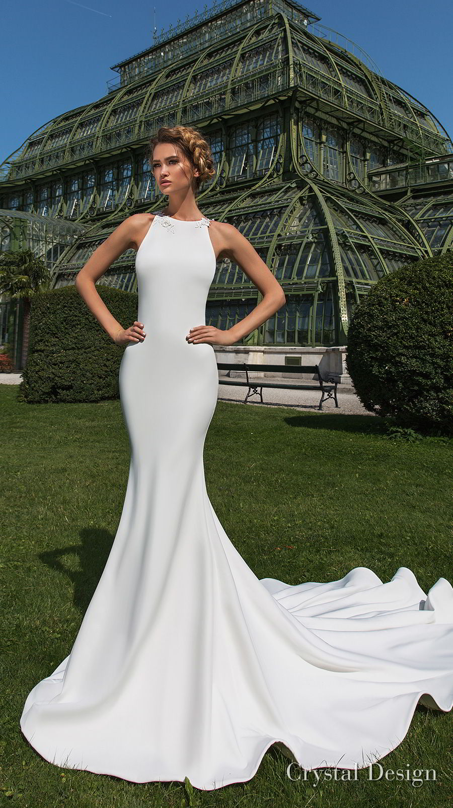 crystal design 2018 sleeveless halter neck simple clean elegant fit and flare wedding dress sheer lace back chapel train (keren) mv