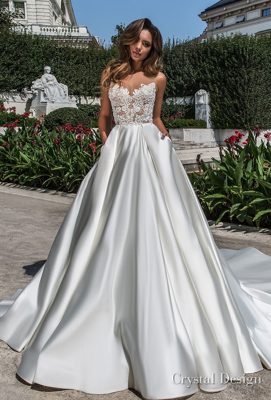 crystal design 2018 sleeveless illusion boat sweetheart neckline heavily embellished bodice satin romantic skirt a  line wedding dress with pockets open back chapel train (kinsley) mv