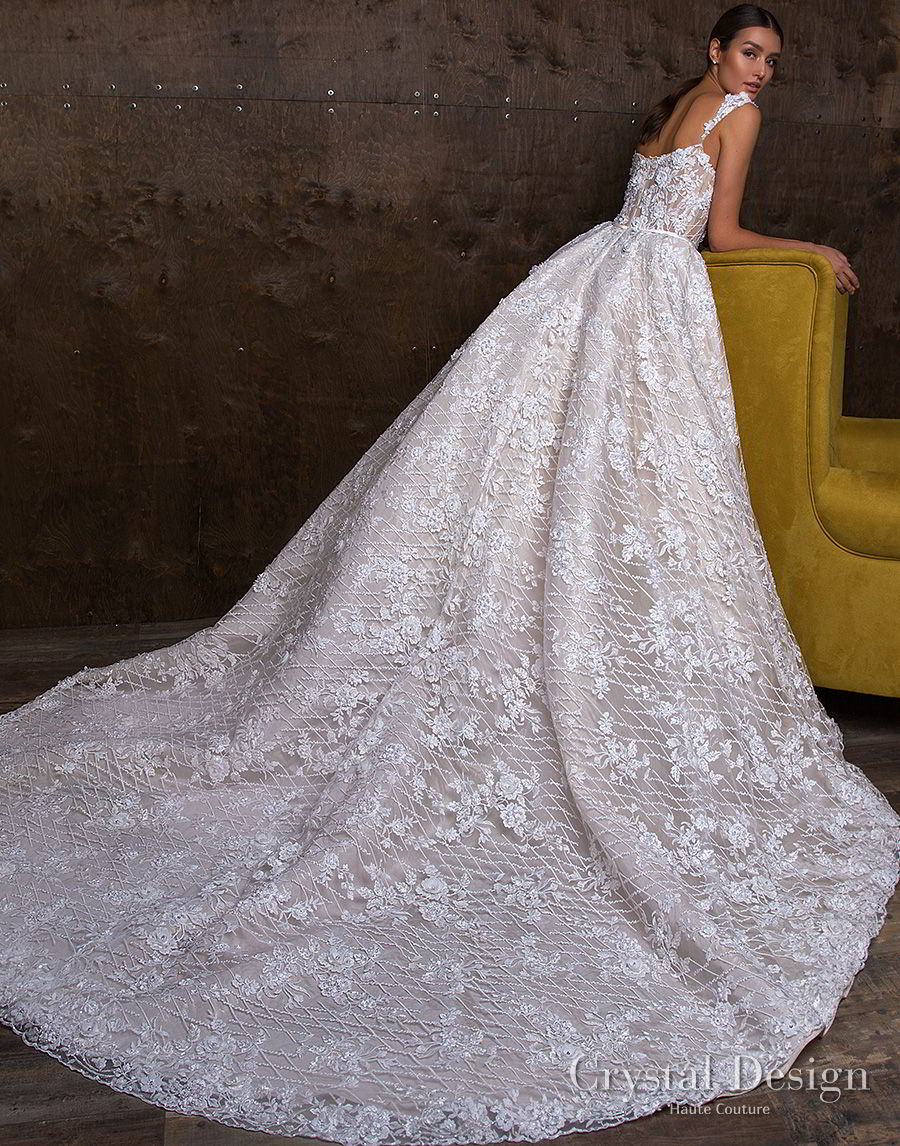 crystal design 2018 sleeveless lace strap straight across full embellishment ball gown wedding dress royal train (hloya) bv
