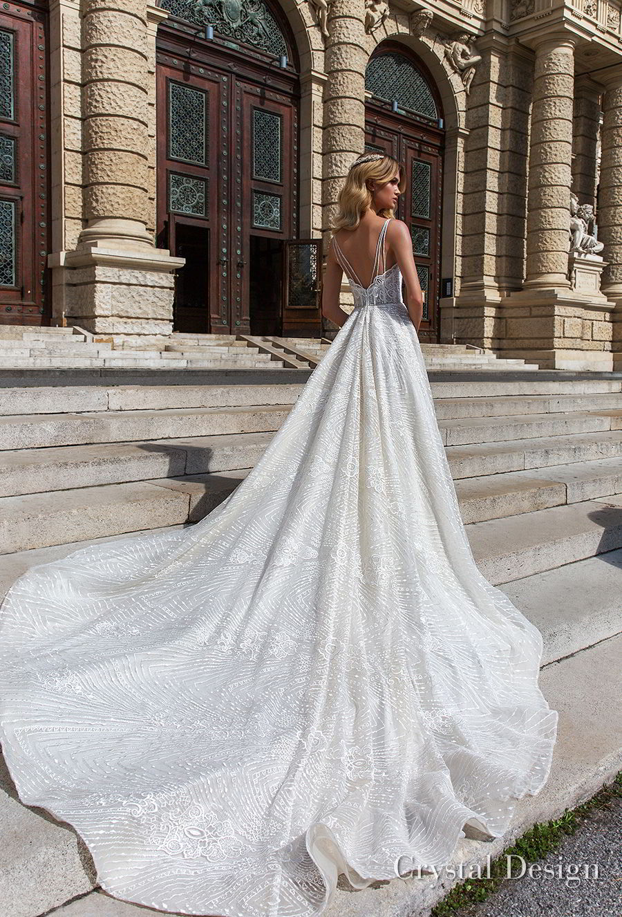 crystal design 2018 sleeveless spaghetti strap sweetheart neckline full embellishment romantic a  line wedding dress open v back royal train (sofie) bv
