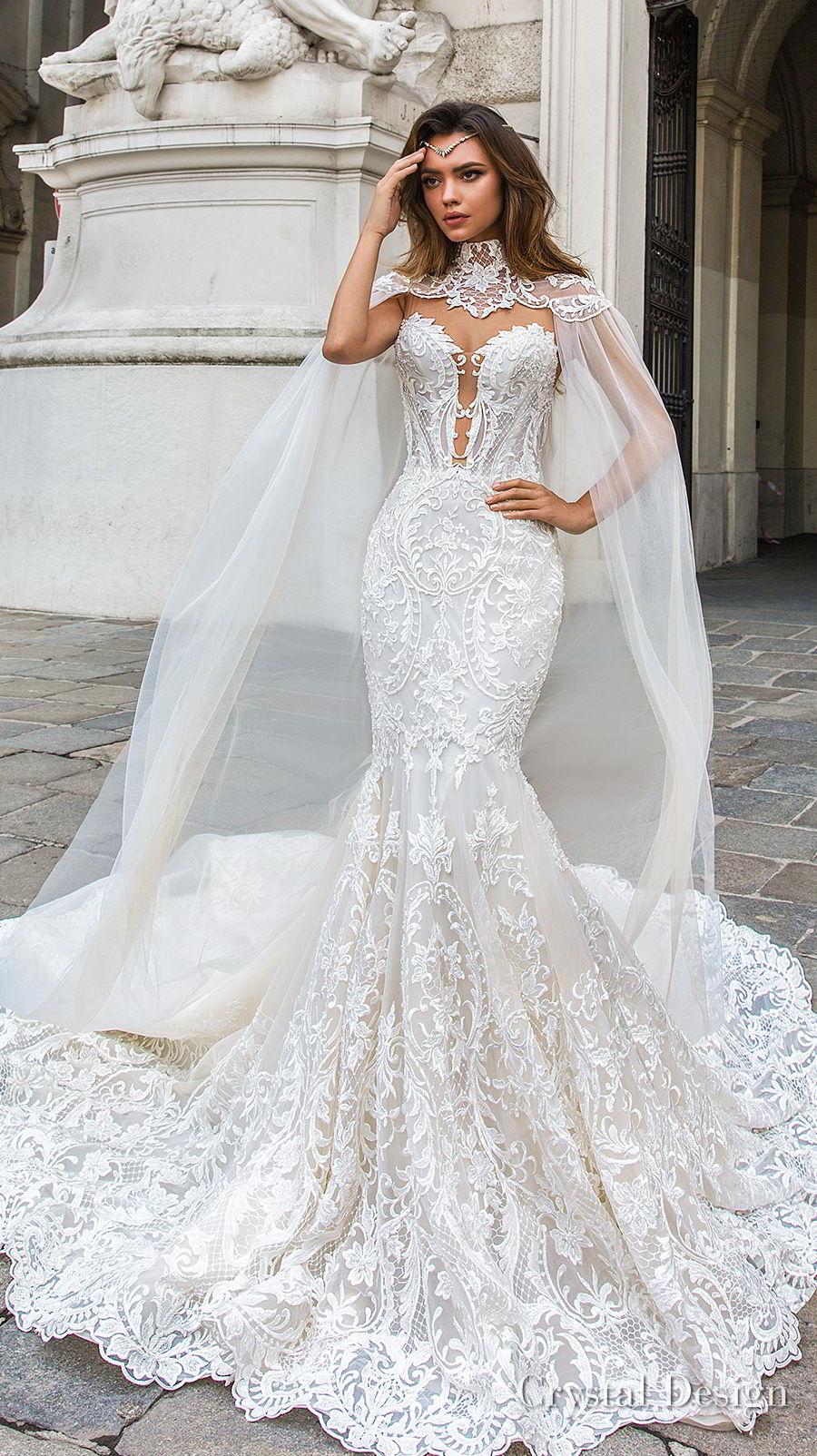 crystal design 2018 sleeveless strapless deep plunging sweetheart neckline full embellishment elegant mermaid wedding dress sheer button back chapel train (gia) mv