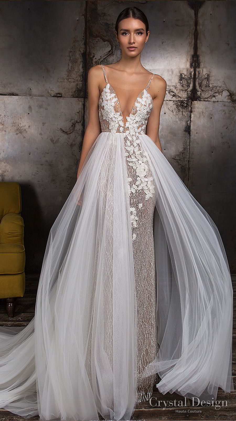 crystal design 2018 sleeveless thin strap deep v neck heavily embellished bodice romantic sheath wedding dress a line overskirt chapel train open back (magic) mv