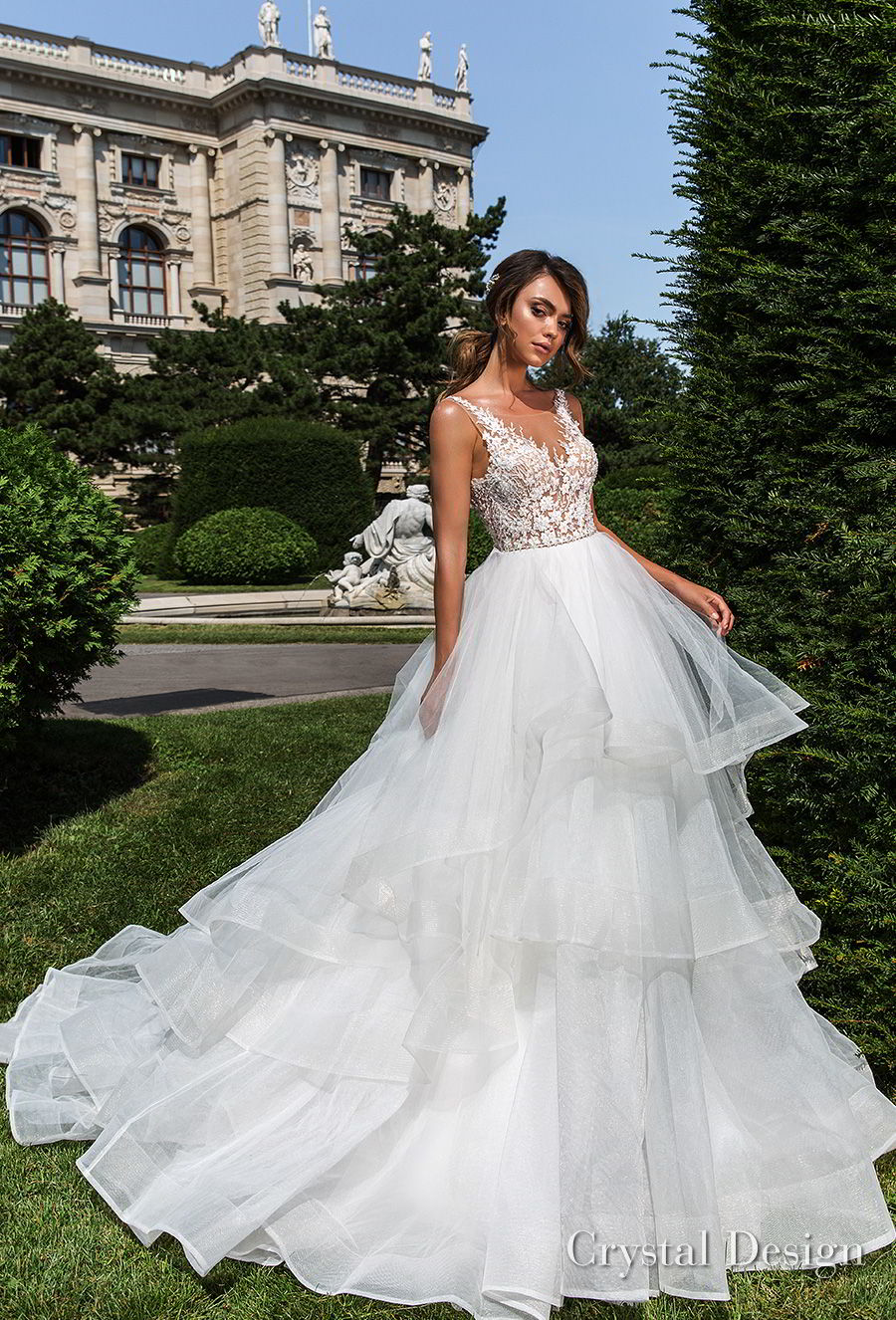 crystal design 2018 sleeveless v neck heavily embellished bodice tiered skirt romantic a  line wedding dress open v back chapel train (kornelia) mv