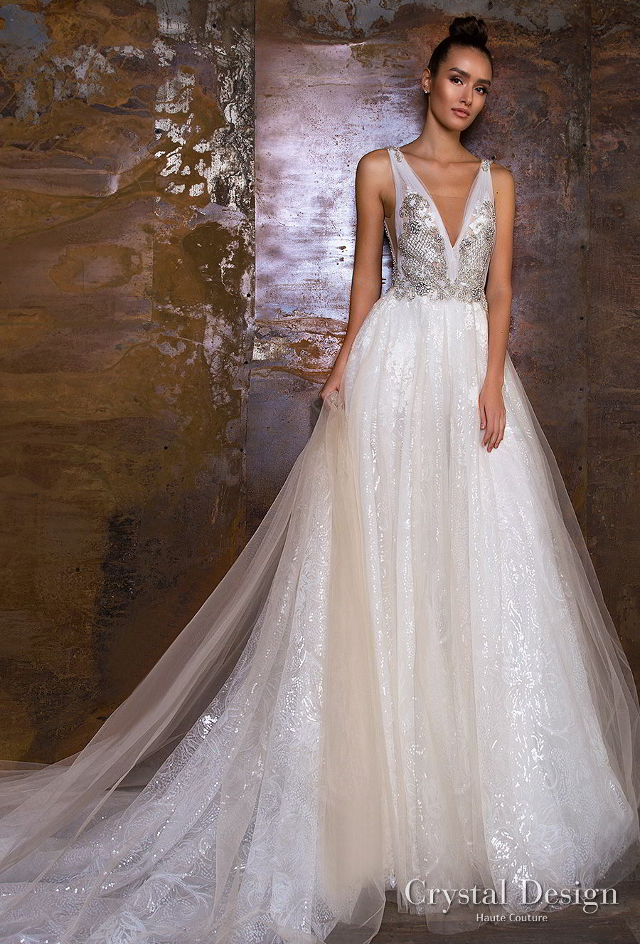 crystal design 2018 sleeveless v neck heavily metallic embellished bodice glamorous a  line wedding dress v back chapel train (treysi) mv