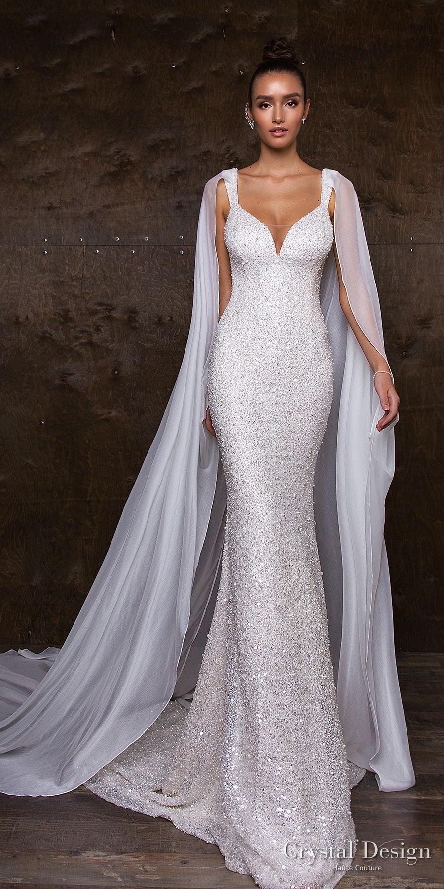 crystal design 2018 sleeveless with strap full embellishment glitter glamorous fit and flare wedding dress sweep train (syuzet) mv