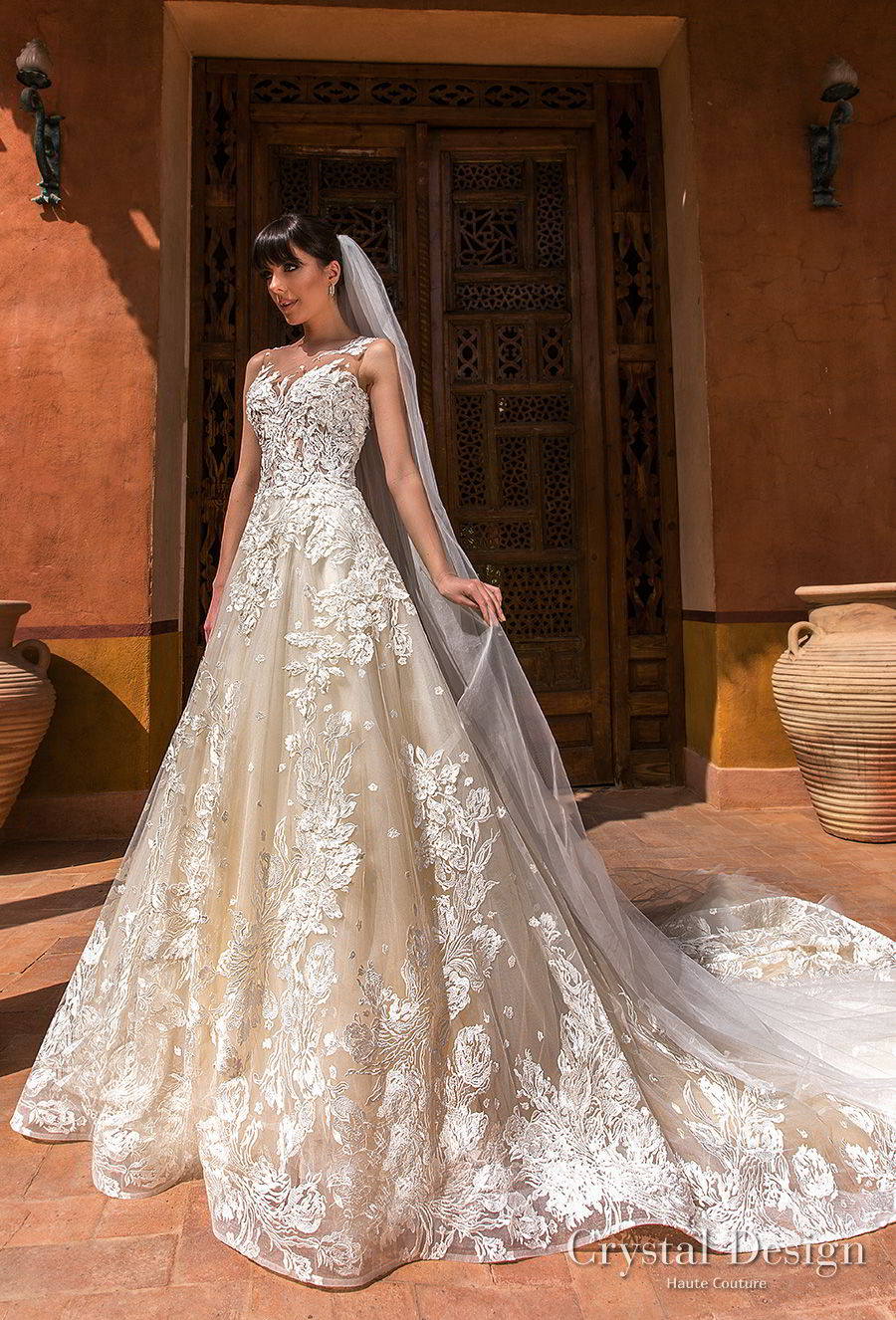 crystal design 2018 sleevess illusion jewel sweetheart neckline full embellishment princess ivory a  line wedding dress sheer button back royal train (comely) mv