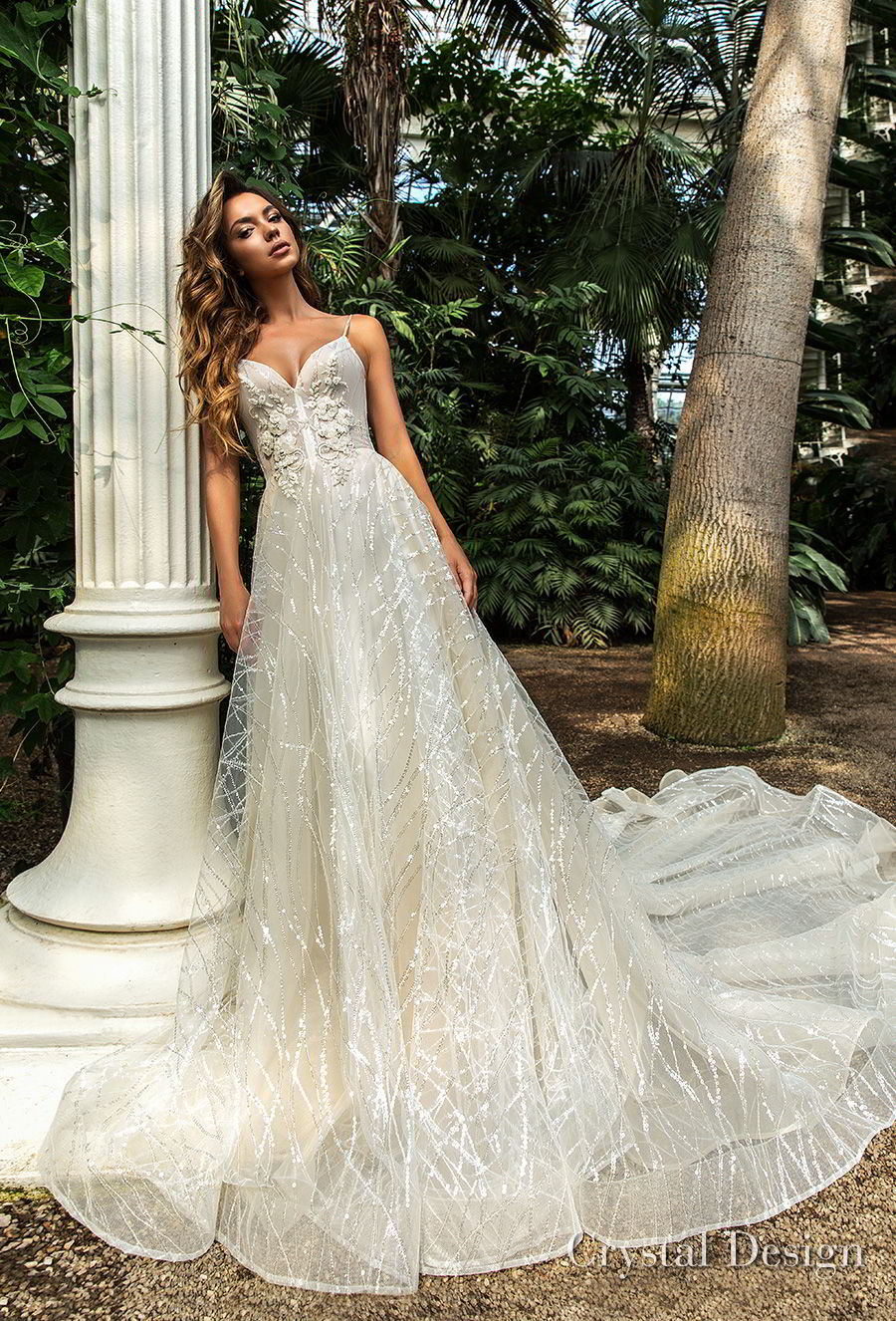 crystal design 2018 spaghetti strap sweetheart neckline full embellishment romantic a  line wedding dress chapel train (pandora) mv