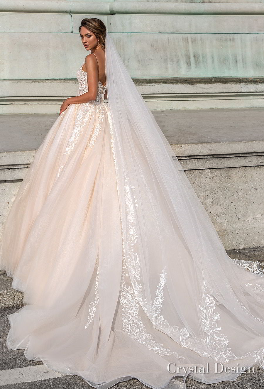 crystal design 2018 spaghetti strap sweetheart neckline heavily embellished bodice romantic ivory ball gown wedding dress chapel train (carol) bv