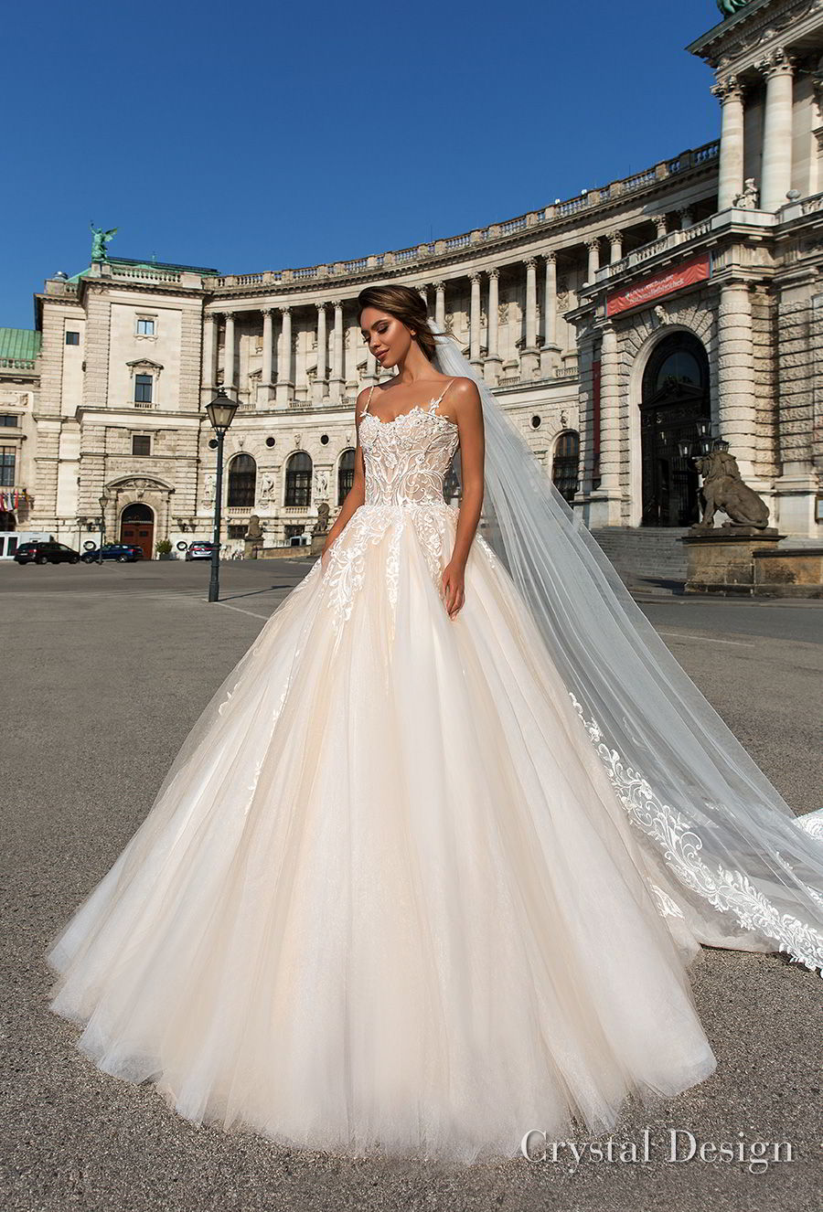 crystal design 2018 spaghetti strap sweetheart neckline heavily embellished bodice romantic ivory ball gown wedding dress chapel train (carol) mv