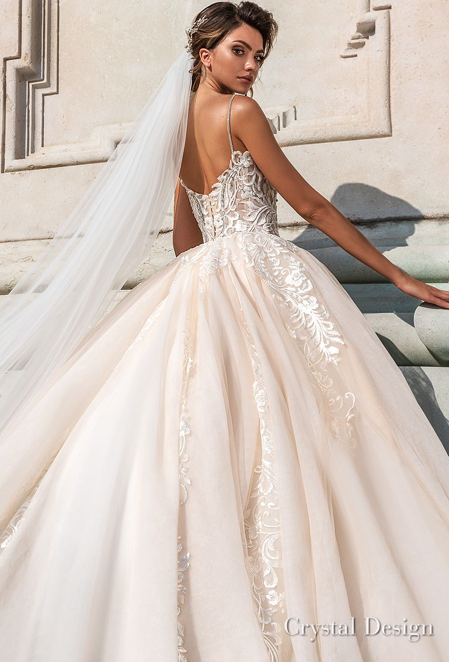 crystal design 2018 spaghetti strap sweetheart neckline heavily embellished bodice romantic ivory ball gown wedding dress chapel train (carol) zbv