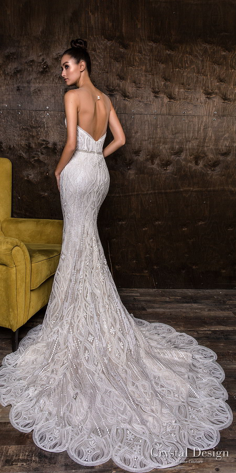 crystal design 2018 strapless sweetheart neckline full embellishment elegant glamor fit and flare sheath wedding dress open back chapel train (djef) bv