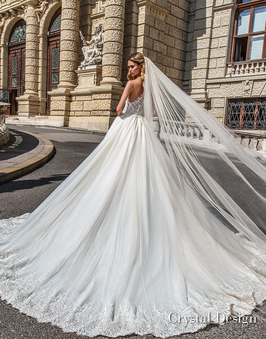 crystal design 2018 strapless sweetheart neckline heavily embellished bodice romantic princess ball gown wedding dress rasor lace back chapel train (emma) bv