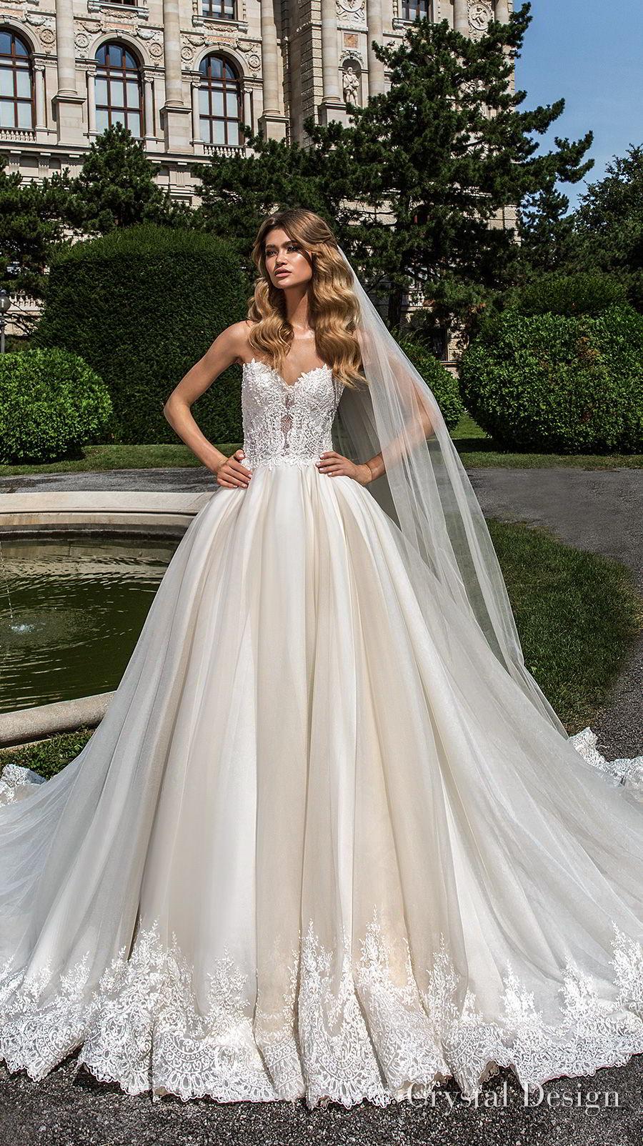crystal design 2018 strapless sweetheart neckline heavily embellished bodice romantic princess ball gown wedding dress rasor lace back chapel train (emma) mv