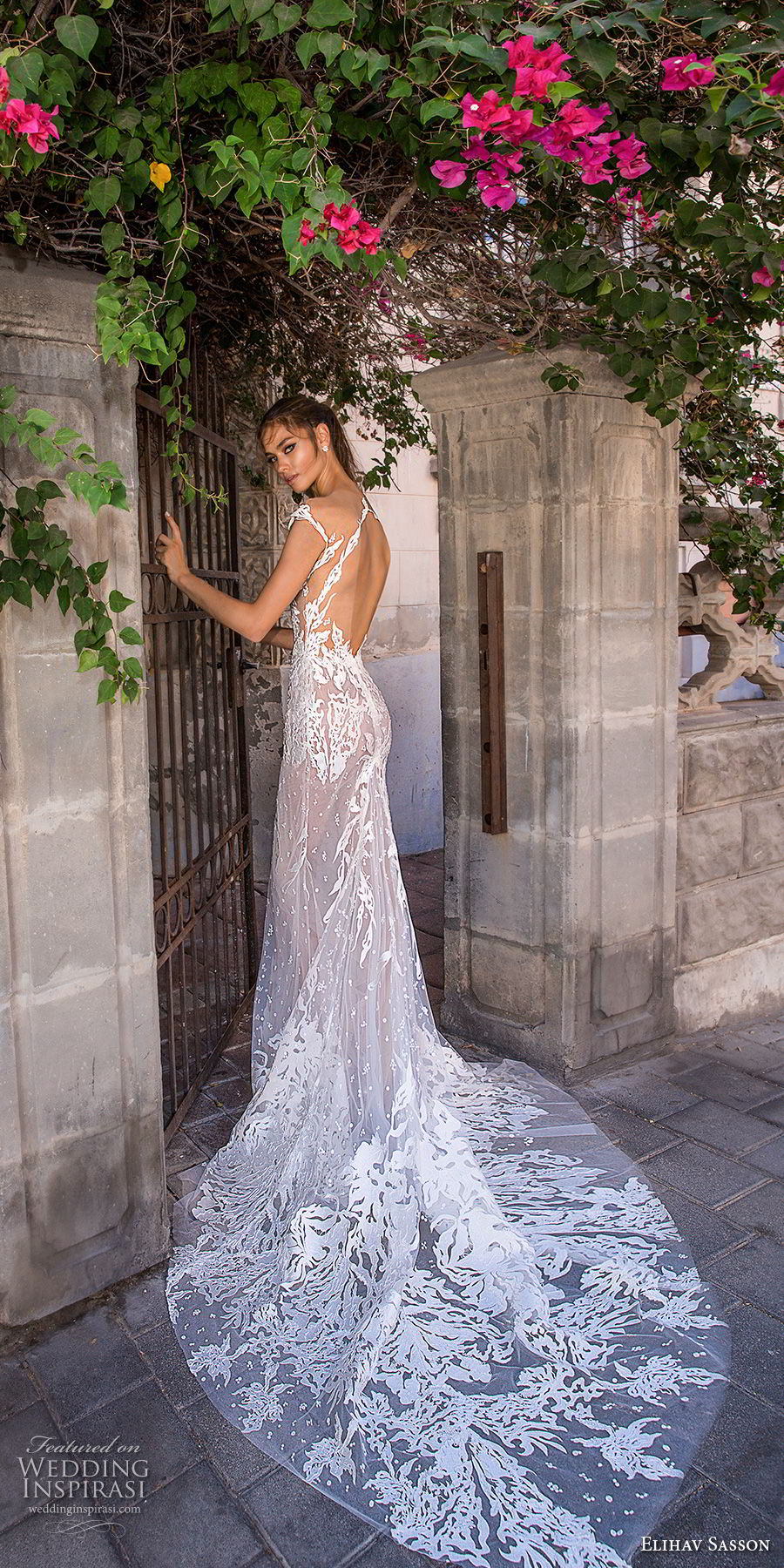 elihav sasson 2018 capsule bridal cap sleeves deep v neck full embellishment sexy modified a  line wedding dress open low back medium train (3) bv