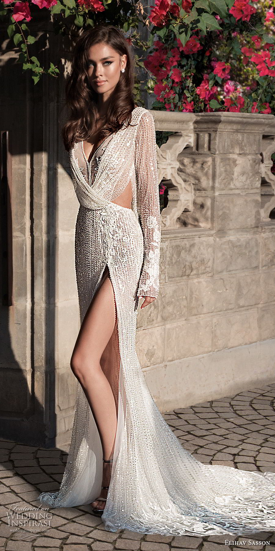 elihav sasson 2018 capsule bridal long sleeves v neck full embellishment high slit skirt sheath wedding dress open back chapel train (11) mv