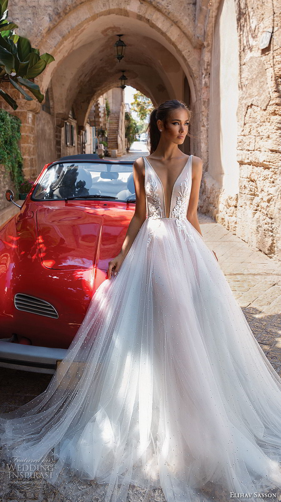 elihav sasson 2018 capsule bridal sleeveless deep plunging v neck heavily embellished bodice tulle skirt romantic soft a  line wedding dress chapel train (1) mv