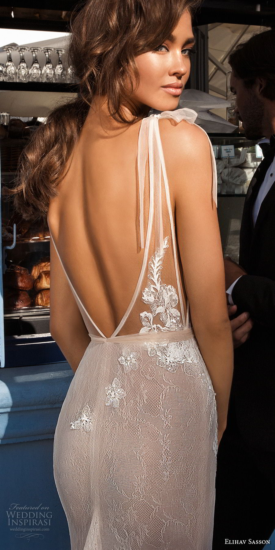 elihav sasson 2018 capsule bridal sleeveless deep v neck heavily embellished bodice side open sexy elegant sheath wedding dress open v back chapel train (4) zbv