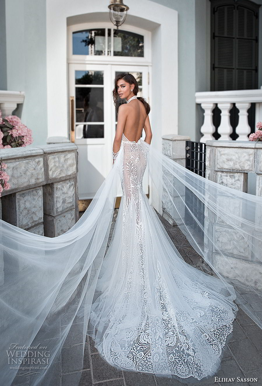 elihav sasson 2018 capsule bridal sleeveless high neck deep plunging v neck full embellishment sexy elegant fit and flare mermaid wedding dress open back chapel train (8) bv