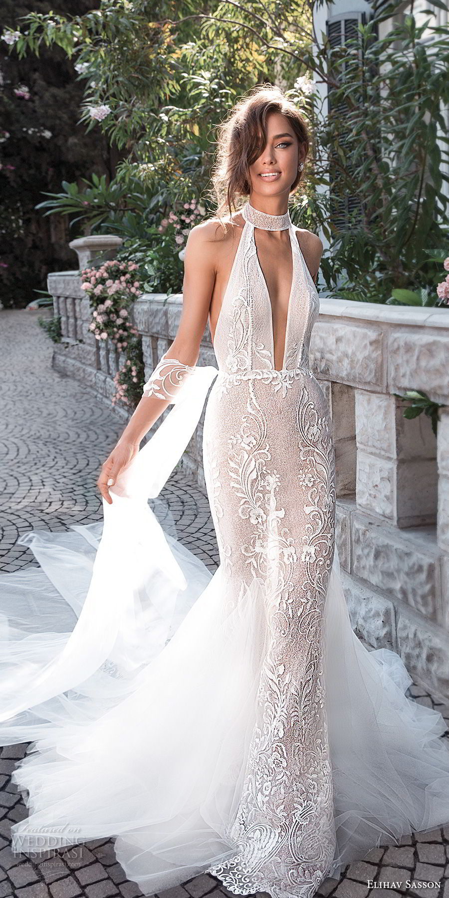elihav sasson 2018 capsule bridal sleeveless high neck deep plunging v neck full embellishment sexy elegant fit and flare mermaid wedding dress open back chapel train (8) mv