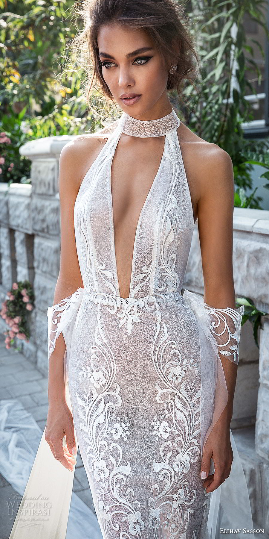 elihav sasson 2018 capsule bridal sleeveless high neck deep plunging v neck full embellishment sexy elegant fit and flare mermaid wedding dress open back chapel train (8) zv
