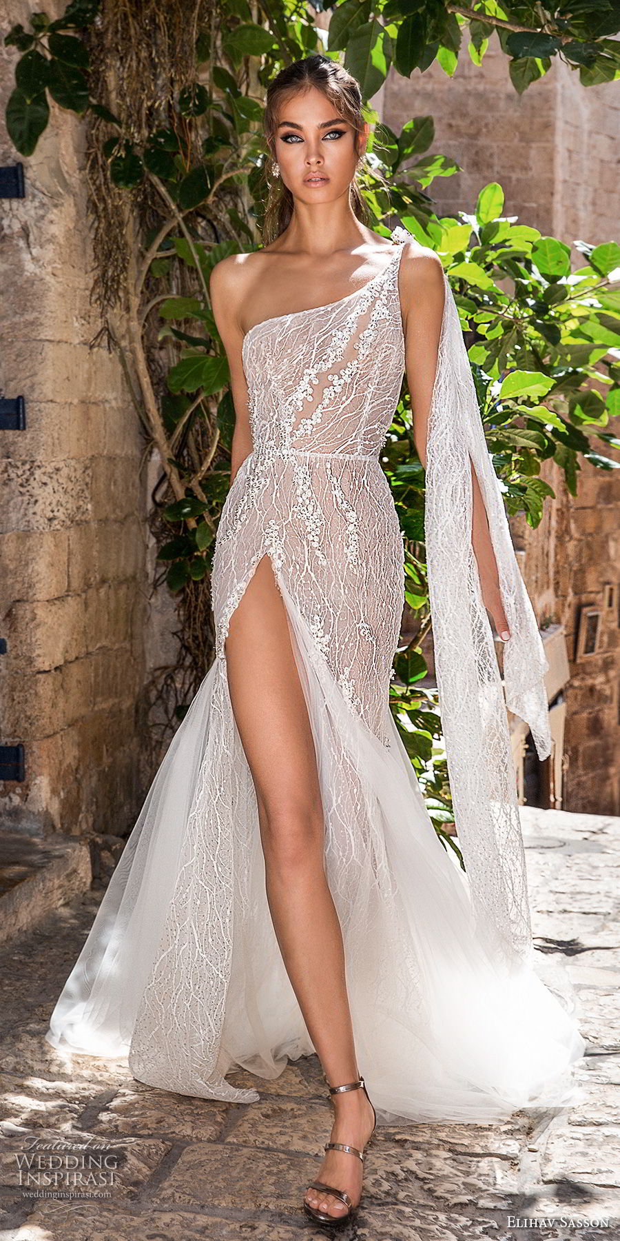 elihav sasson 2018 capsule bridal sleeveless one shoulder full embellishment high slit romantic sexy soft a  line wedding dress low open back chapel train (2) mv