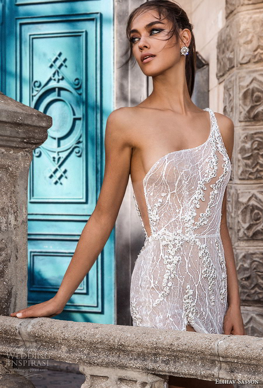 elihav sasson 2018 capsule bridal sleeveless one shoulder full embellishment high slit romantic sexy soft a  line wedding dress low open back chapel train (2) zv
