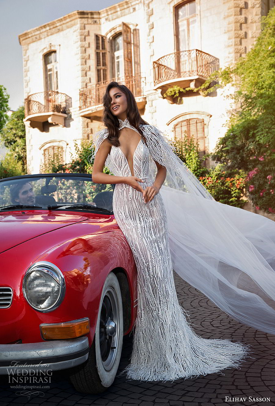 elihav sasson 2018 capsule bridal sleeveless spaghetti strap deep plunging sweetheart neckline full embellishment sexy modern fit and flare wedding dress open low back sweep train (12) mv