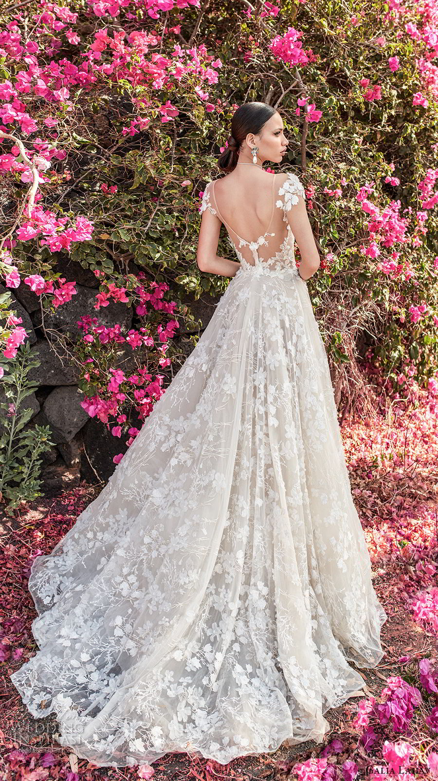 galia lahav couture fall 2018 bridal cap sleeves sweetheart neckline full embellishment elegant romantic a line wedding dress open back chapel train (1) bv