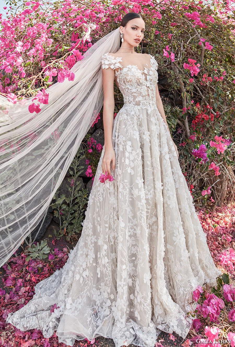 galia lahav couture fall 2018 bridal cap sleeves sweetheart neckline full embellishment elegant romantic a  line wedding dress open back chapel train (1) mv